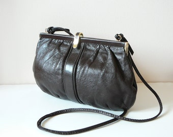 70's Brown Leather Small Clutch Crossbody Shoulder Bag with Gold Hardware