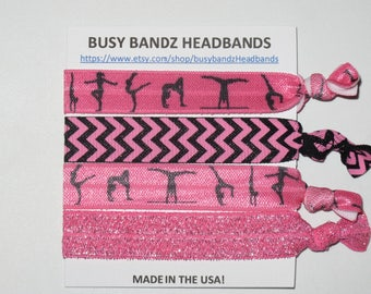 Set of 4 PINK GYMNASTICS hair ties