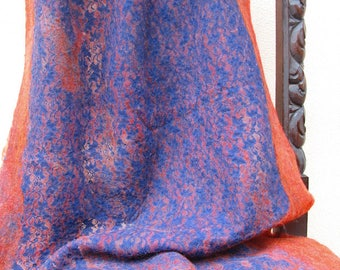 """Hand felted scarf of merino wool and lace """"King's blue"""" / Worldwide Free Shipping /"""