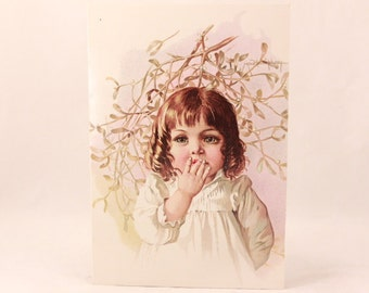 NEW! Vintage Gallery Graphics Single Greeting Card with Envelope. Mistletoe
