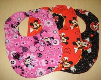 Mickey/Minnie Mouse bibs