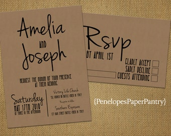 Rustic Kraft Paper Wedding Invitation,Unique,Cursive Names,Simple,Customize,Personalize,Printed Invitations,Invitations Sets,Kraft Envelope