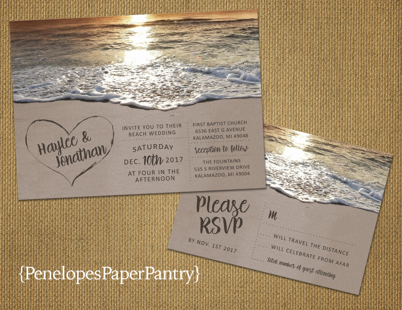Etsy Beach Wedding Invitations: Romantic Beach Wedding InvitationHeart In The SandSandy