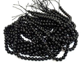 "Black Tourmaline 7mm round ball beads natural semi precious gemstones 15.5"" strand"