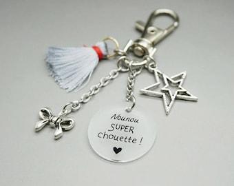 """porte clé liberty cabochon """"Nounou super chouette"""" étoile noeud personnalisable"""