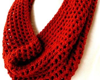 Tomato Red Scarf - Crochet Loop Scarf - Burnt Orange Circle Scarf - Mens Vegan Scarves - Orange Womens Vegan Scarf - Lightweight Scarf - Red