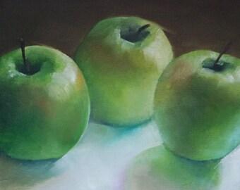 Original small oil painting of green apples, still life