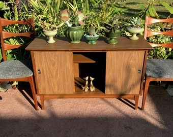 Mid Century Media Record Cabinet, MCM Display Cabinet, Danish Modern Walnut Credenza Sideboard, Mid Century Storage, Entryway Console Table