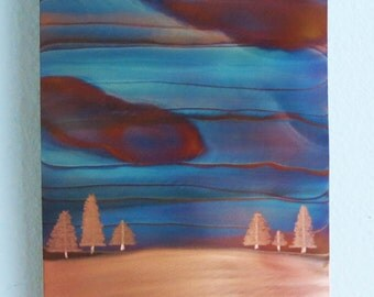 """Copper Wall Art - Winter Sky - 12"""" x 5"""""""