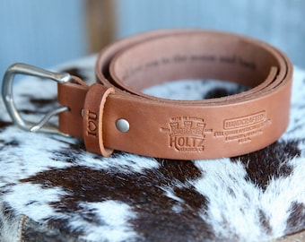 No. 101 Fine Leather Belt in Brown – Personalized Custom Belt – with Secret Message – Rounded Nickel Buckle