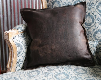The Adelaide Rough And Ready American Bison Leather Pillow - Sofa pillows - Graduation Gifts - Gifts for Her