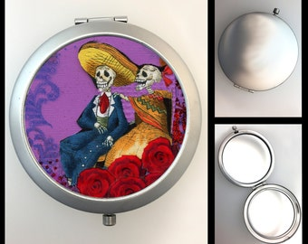 Compact Mirror Dia de los Muertos Skeleton Couple