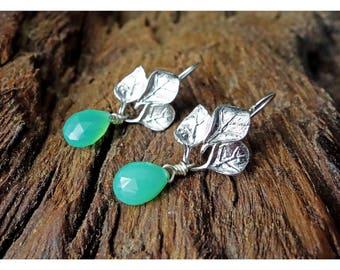 Silver Leaves Earrings with gemstones
