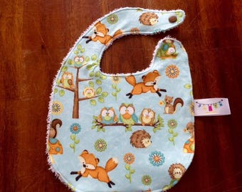 NEW*** baby bib very absorbant for 0-6 months old FOX Forest owl Cotton Terry cloth baby gift baby shower gift