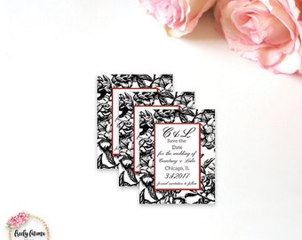 Black White Red Vintage Flower Save the Date optional magnet