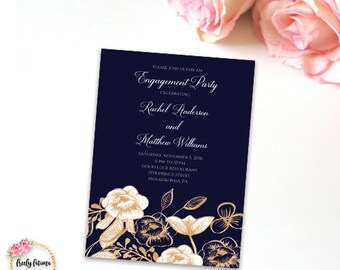Engagement Party Invitation - Navy White and Gold - Gold Floral Elegant - Digital Invitation - Printable Invitation