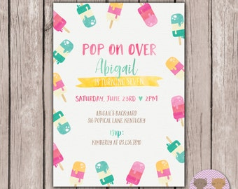 PRINTABLE- Pop on Over Birthday Invite- Summer Birthday Invitation- Kids Summer Ice Cream Popsicle Party- 5x7 JPG