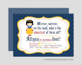 Snow White Princess Birthday Party Invitation 2, Customized, Digital File
