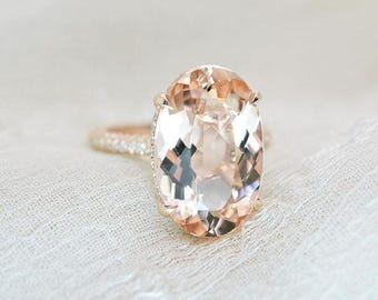 6.10 Ct. Brilliant Oval Cut Morganite Solitaire Engagement Ring on 14K Rose Gold with Diamonds