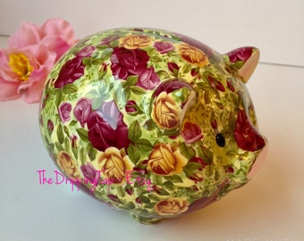 Royal Albert Old Country Roses Chintz Piggy Bank Royal Doulton Piggy Bank Figurine Gifts for Her Collectors Home Decor Mothers Day