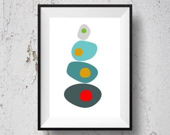 Abstract art, printable wall decor, wall hanging, circle pattern