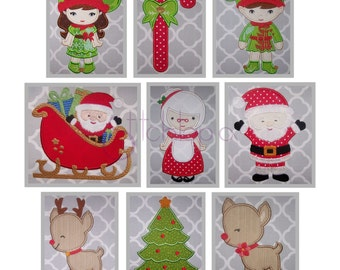 Christmas Applique Design Set -Christmas Embroidery Design Santa Sleigh Elf Reindeer Christmas Tree Candy Cane 10 Formats - Instant Download