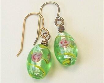 Green Lampwork Earrings | Lampwork Glass | Floral Earring | Green Lampwork Glass | Wire Wrapped Brass | Antiqued Brass | Green Floral
