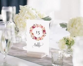 Wedding Table Number Template, Printable Wedding Table Number Card, Head Table Card, Pink Rose Rustic Boho DIY PDF Instant Download #102