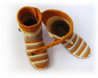 Custom order - Unisex slippers boots Crochet slippers boots Winter gift Wool slippers Slippers shoes Home shoes Unisex gift Gift for her