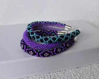 Beadwork Beaded Jewelry Beaded bracelet 3 Strand Bead Crochet Rope Bracelet Turquoise Lilac Black Purple Gift For Womens Birthday present
