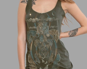 Trippy Women's Tank Top In Olive, Dmt, Spiritual, Flower Of life, Yoga Wear, Visionary Art, Psychedelic, Ayahuasca