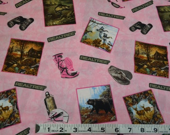 Item 229, ReelTree Camo on Pink,  100% Cotton, By the Yard, ReelTree