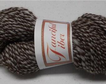 Handspun Llama/Romeldale-cvm Wool Blend 2 Ply  Dark Brown/White Tweed (J)