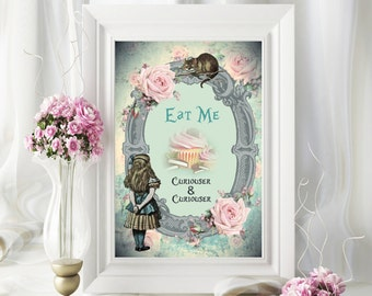 1 Digital Alice in Wonderland Eat Me Sign for Venue,Decoration, Wedding,Party,Cake