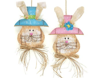 "burton+Burton 19"" HANGING BUNNY HEADS-Set of 2/Wreath Supplies/Easter Decor/9727186"