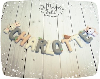 Felt name banner Woodland Baby name garland Animals nursery banner Personalized Baby girl nursery name banner Personalized kids garland