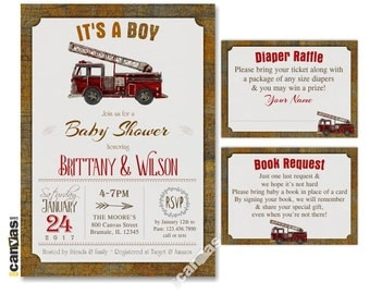 Firetruck Baby Shower Invitation, Itu0027s A Boy, Coed Baby Shower, Rustic  Vintage Fire