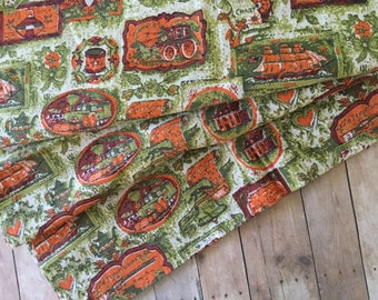 Charming Vintage Remnant - Americana Print - 1960's - Over 1 Yard