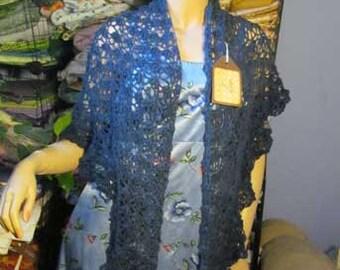 All Cotton Hand Dyed Triangular Navy Blue Shawl