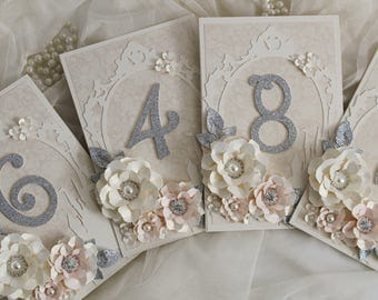 Blush pink and silver fairy tale wedding table numbers, fairytale decorations, blush wedding, pink and silver , ANY COLOUR AVAILABLE