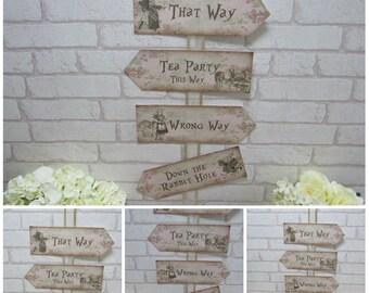 Alice in Wonderland Arrow Quote Sign Wedding, Tea Party,Decoration,Birthday,Decor,Party,Baby Shower