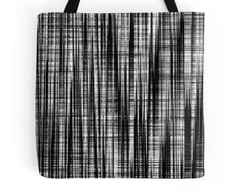 Black White Tote Bag, Black White Bag, White Black Stripe Bag, White Black Accessories, Black White Handbag, Black White Purse, Black White