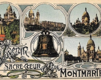 Souvenir Du Sacre Coeur de Montmartre, Paris, France, Antique Circa 1910 Unused Color Souvenir Postcard, Published by A. Papeghin