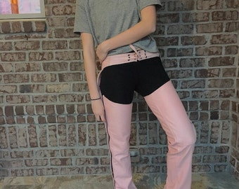 Pink Jamin Leather Motorcyle Chaps XS