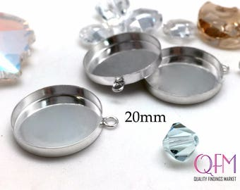 5 pcs Sterling Silver 925 Round Bezel cup 20mm with one loop - Jewelry Basis, Silver Pendant Basis, Silver Bezel Cup