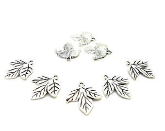 20 charms 3 Silver leaves mast 26x20mm