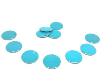 20 Emailles 20mm blue Sequins charms