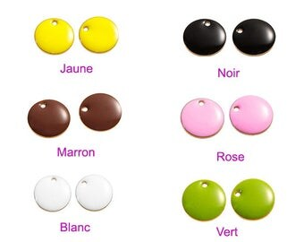 10 enamel pendants 12mm 6 colors