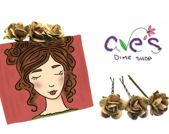 Floral Rose Bobby Pins by Ave's Dime Shop