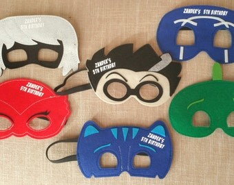 Ready to ship! Personalized PJ Masks Mask Set of 6! PJ Masks! Birthday Party Favor! Pick Any Mixture of Characters! PJ Mask Party Favor